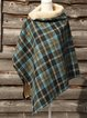Blue Plaid Casual Printed Cotton-Blend Scarves & Shawls