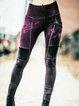 Plain Color-Block Sheath Vintage Pants