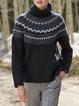 Black Long Sleeve Printed plus size Sweater