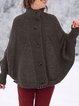 Buttoned Stand Collar Batwing Outerwear