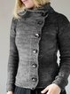 Plain Shift Long Sleeve Knitted Sweater