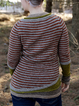 Red Wool Blend Paneled Crew Neck Long Sleeve Sweater