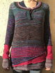 Red Crew Neck Wool Blend Plain Short Sleeve Sweater