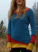 Blue Long Sleeve Plain Sweater