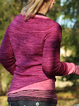 Wine Red Casual Plain Paneled Sweater