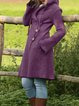 Gray Patchwork Long Sleeve Buttoned Outerwear