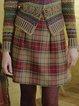 Retro Checkered/plaid Shift Cotton-Blend Skirts