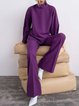 Knitted Casual Shift Plain Suits