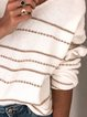 White Casual V Neck Stripes Knitted Shirts Tops