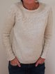 Solid Sweater Plus Size Crew Neck Knit Tops