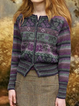 Color Floral Casual Color-Block Outerwear