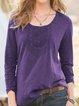 Long Sleeve Velvet Round Neck Vintage Shirts & Tops