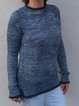 Solid Sweater Plus Size Knitted Crew Neck Tops