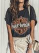 Black Cotton Casual Short Sleeve Shirts & Tops