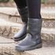 Womens Outdoor Leather Flat Heel Winter Boots