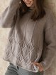 Gray Long Sleeve Crew Neck Vintage Sweater