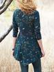 Black Blue Floral Long Sleeve Shirts & Tops