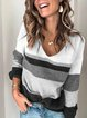Color-block V-neck Casual Long Sleeve Sweater