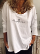 Casual Letter Cotton-Blend Long Sleeve Shirts & Tops