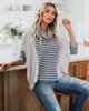 Blue Long Sleeve Cotton-Blend Sweater