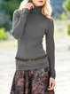 Cowl Neck Solid Casual Long Sleeve Shirts & Tops
