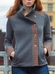 Plus size thick warm side Buttoned Casual Outerwear