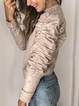 Light Khaki Wool Blend Plain Crew Neck Casual Sweater