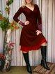 Paneled Solid Vintage Dresses