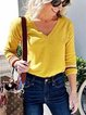 Green Plus Size Cotton-Blend Casual Paneled Shirts & Tops