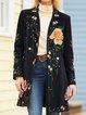 Black Long Sleeve Lapel Floral Outerwear