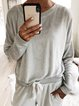 Crew Neck Casual Solid Shirts Blouses