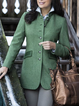 Green Paneled Casual Plain Wool Blend Outerwear