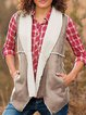 Women Pockets Cotton-lined Suede Vest Coats