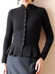 Black Shawl Collar Casual Long Sleeve Outerwear