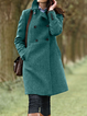 Deep Brown Casual Shawl Collar Outerwear