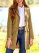 Yellow Plaid Wool Blend Casual Outerwear