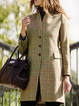 Light Khaki Wool Blend Casual V Neck Plaid Outerwear