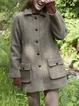 Khaki Casual Paneled Outerwear