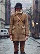 Khaki Casual Long Sleeve Paneled Outerwear