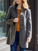 Gray Wool Blend Long Sleeve Casual Outerwear