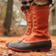 Womens Lace-Up Leather Winter Daily Flat Heel Boots