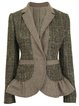 Khaki Vintage Tweed Ruffled Outerwear