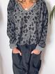 Cotton-Blend V Neck Casual Sweatshirt