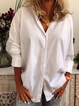 White Cotton Long Sleeve Shirt Collar Solid Shirts & Tops