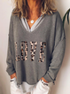 Gray Letter Long Sleeve Cotton-Blend Shirts & Tops