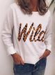 White Letter Casual Long Sleeve Shirts & Tops