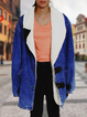 Blue Casual Plain Long Sleeve Outerwear