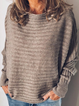Gray Casual Cotton-Blend Sweater