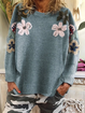 Green Casual Floral Round Neck Cotton-Blend Shirts & Tops