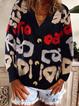Black Long Sleeve Cotton-Blend V Neck Shirts & Tops